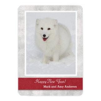 Die Karte arktischer Fox-guten Rutsch ins Neue 12,7 X 17,8 Cm Einladungskarte
