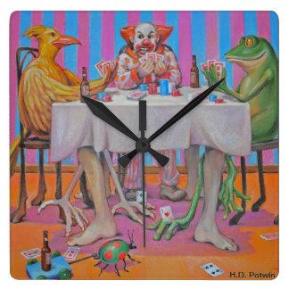 Die Kartenspieler Quadratische Wanduhr