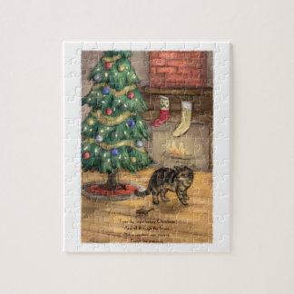 Die Katze vor Weihnachtspuzzlen