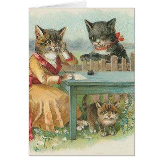"""Die Katzen-Familien-"" Vintage Gruß-Karte Grußkarte"