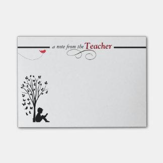 Die klebrigen Anmerkungen eines Lehrers Post-it Klebezettel