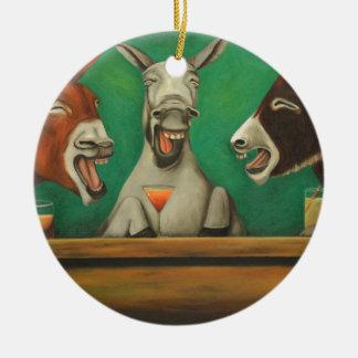 Die lachenden Esel Rundes Keramik Ornament