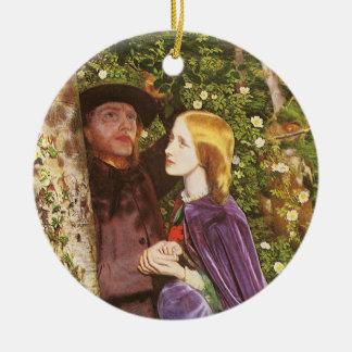Die lange Verlobung, Arthur Hughes, viktorianische Rundes Keramik Ornament