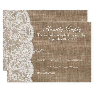 Die Leinwand-u. Spitze-Hochzeits-Sammlung UAWG 8,9 X 12,7 Cm Einladungskarte