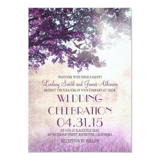 Die lila alten wedding Eichenbaum- u. -Liebevögel 12,7 X 17,8 Cm Einladungskarte