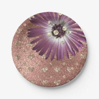 Die lila Blume erröten Herz-Rosen-Golddiamant-Glas Pappteller