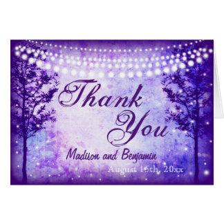 Die lila Wedding Baum-Schnur-Lichter danken Ihnen Karte