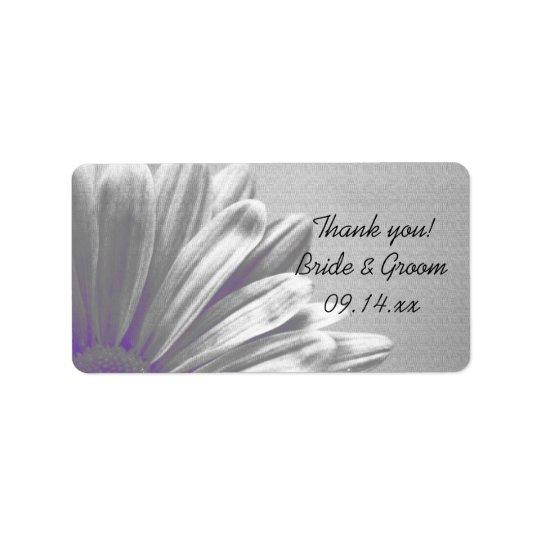 Die lila Wedding Blumenhöhepunkte danken Ihnen Adressaufkleber