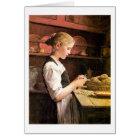 Die Mädchen Kleine Kartoffelschälerin, das Potatos Karte