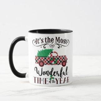 Die meiste wunderbares Zeit-Weihnachtskarierte Tasse