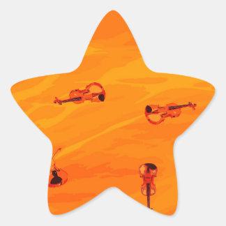 Die Melodie der Liebe: Violinen-Muster Stern-Aufkleber