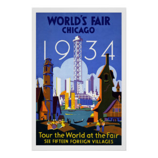 """Die Messe der Welt, Chicago 1934"" Vintag Poster"