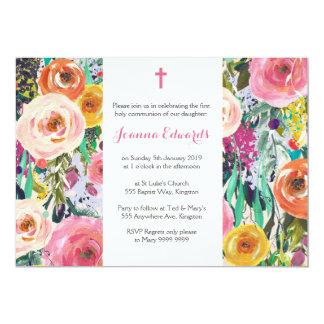 Die moderne Blumenerste personalisierte Kommunion 12,7 X 17,8 Cm Einladungskarte
