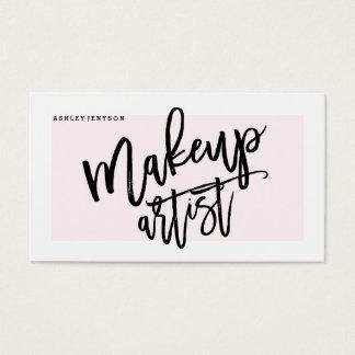 Die moderne Maskenbildnertypographie erröten Rosa Visitenkarte