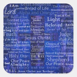 Die Namen der Jesus Christusblauen Querkunst Quadratischer Aufkleber
