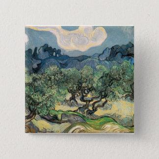 die Olivenbäume, 1889, Vincent van Gogh Quadratischer Button 5,1 Cm