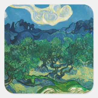 Die Olivenbäume mit Alpilles Vincent van Gogh Quadratischer Aufkleber