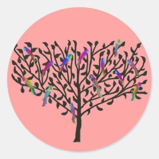 Die Papageien-Baum-Aufkleber Runder Aufkleber