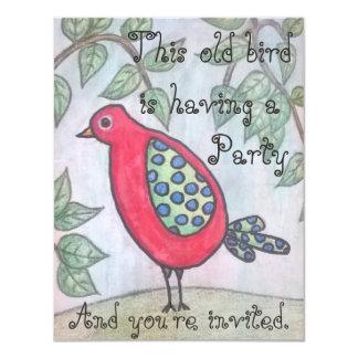 Die Party Einladung des alten Vogels
