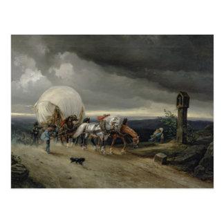 Die Pferde, die Wagen zeichnen, up einen Hügel, Postkarte