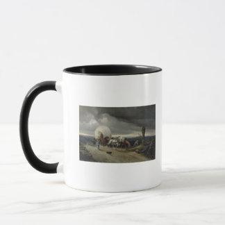 Die Pferde, die Wagen zeichnen, up einen Hügel, Tasse
