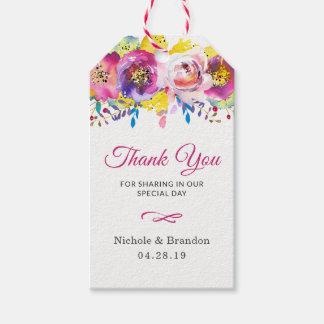 Die pinkfarbenen Wedding GoldBlumen danken Ihnen Geschenkanhänger