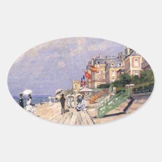 Die Promenade bei Trouville Claude Monet Ovaler Aufkleber
