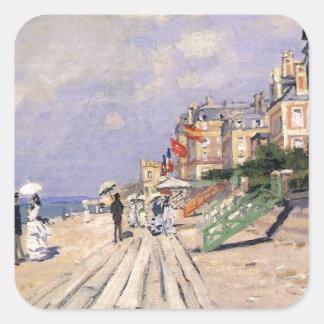 Die Promenade bei Trouville Claude Monet Quadratischer Aufkleber