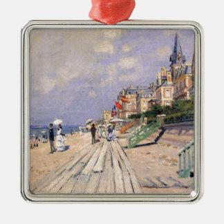 Die Promenade bei Trouville Claude Monet Quadratisches Silberfarbenes Ornament