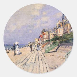 Die Promenade bei Trouville Claude Monet Runder Aufkleber