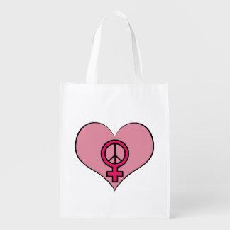 Die Recht-Protest-Herz-feministische Wiederverwendbare Einkaufstasche