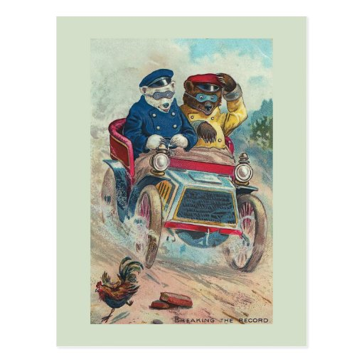 """Die Rekord"" Vintage Bärn-Postkarte brechend"