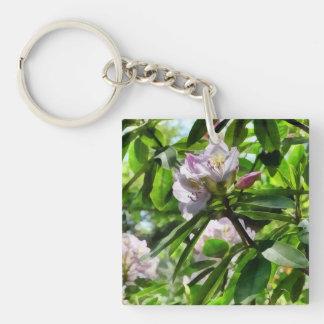 Die Rhododendren sind in der Blüte Beidseitiger Quadratischer Acryl Schlüsselanhänger