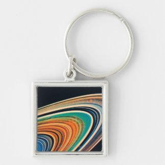 Die Ringe von Saturn 2 Silberfarbener Quadratischer Schlüsselanhänger