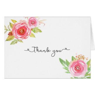 Die rosa Braut Blumenhochzeit danken Ihnen merkt Mitteilungskarte