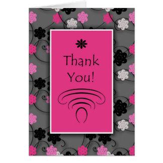 Die rosa Schwarz-weißen Blumen Blumen danken Ihnen Karte