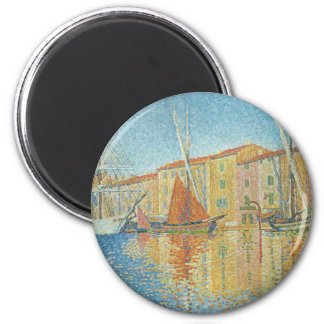 Die rote Boje durch Paul Signac, Vintager Runder Magnet 5,7 Cm
