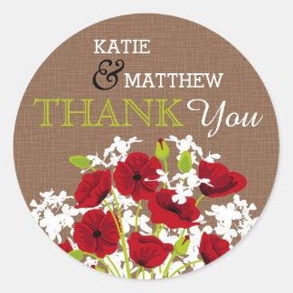 Die rote rustikale Mohnblumen-Blumenleinwand dankt Runder Aufkleber