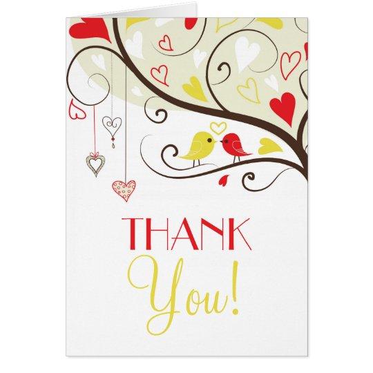 Die roten und gelben Wedding Lovebirds danken Grußkarte