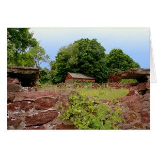 [die Ruinen] Steinwand-Bauernhof [freier Raum nach Grußkarte