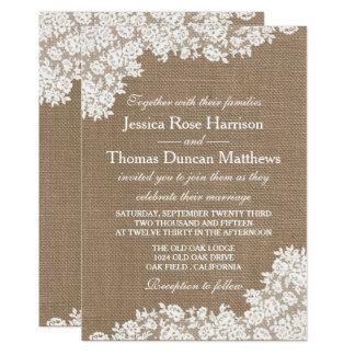Die rustikale Leinwand u. Vintage weiße die 12,7 X 17,8 Cm Einladungskarte