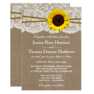Die rustikale Sonnenblume-Hochzeits-Sammlung Karte