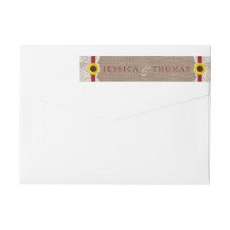 Die rustikale Sonnenblume-Hochzeits-Sammlung - Rot Absender Adressband