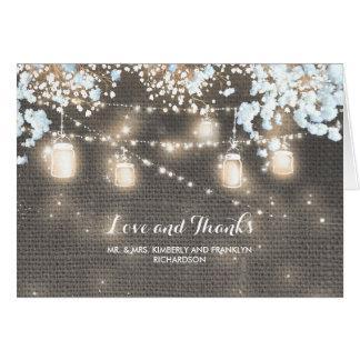 Die rustikalen Wedding Leinwand-Weckglas-Lichter Karte