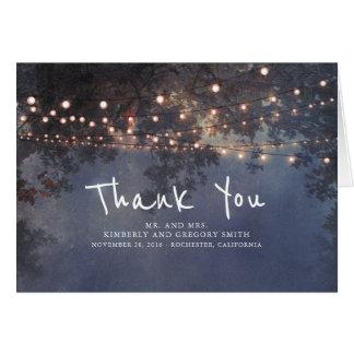 Die rustikalen Wedding Schnur-Lichter danken Ihnen Karte