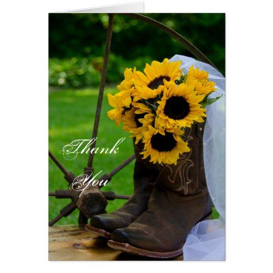 Die rustikalen Wedding Sonnenblume-Cowboystiefel Mitteilungskarte