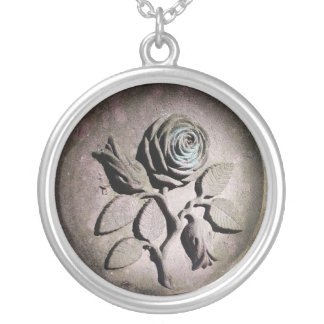 Die Sandstein-Rose Versilberte Kette