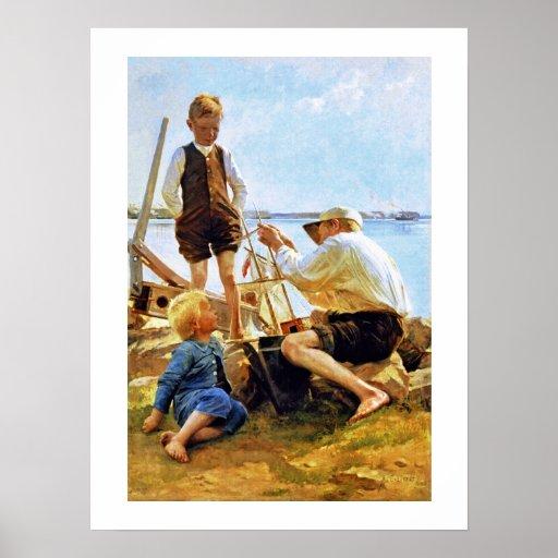 """""""Die Schiffbauer"""" durch Albert Edelfelt Plakate"""