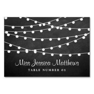 Die Schnur-Lichter auf Tafel-Hochzeits-Sammlung Karte