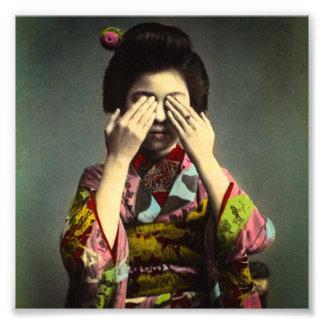 Die schüchterner Geisha-Vintage alte Japan-Hand Foto
